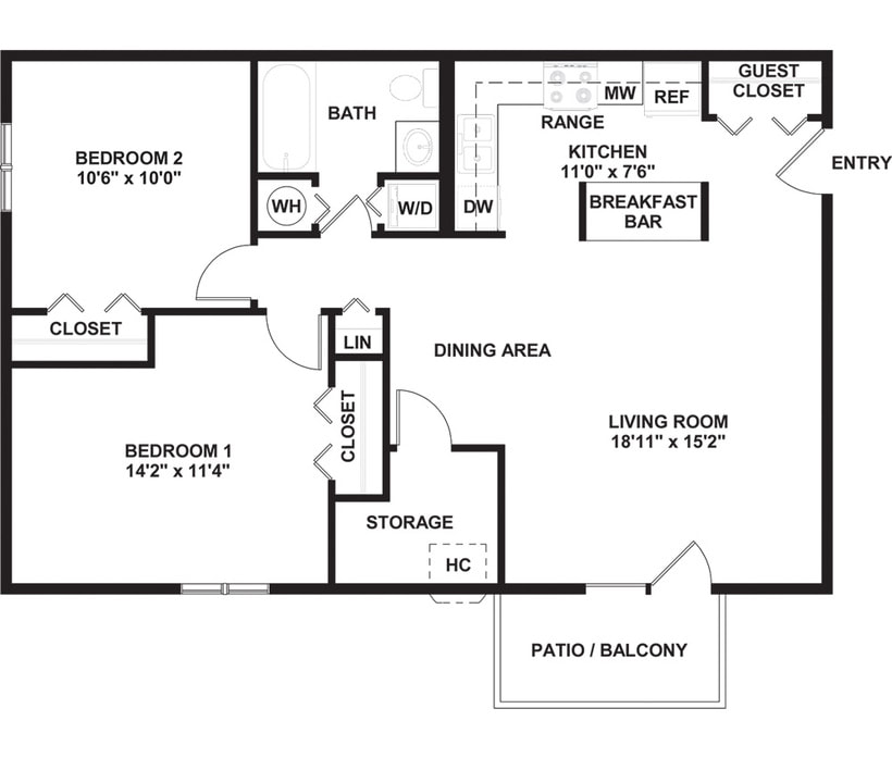 One, Two & Three Bedroom Floor Plans in Naperville, IL