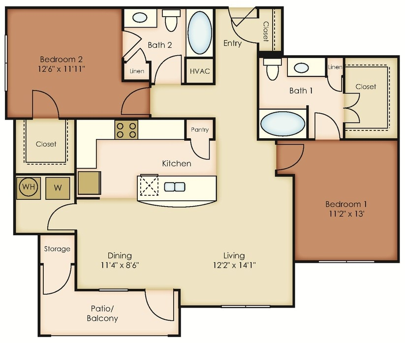 2 Bedroom Apartments In Midland Tx Midway Station Floor Plans