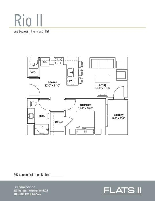 1 & 2 Bedroom Floor Plans | Flats II - Columbus, Ohio