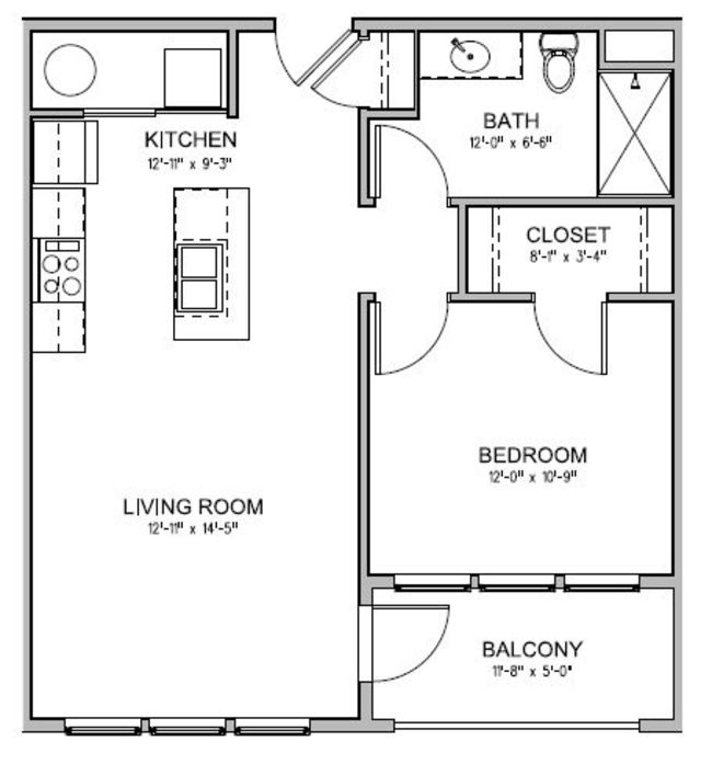 Studio Apartments, 1 & 2 Bedroom Floor Plan