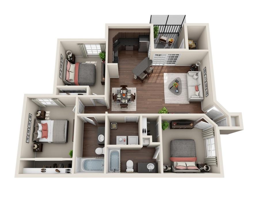 1-3 Bedroom Apartments Sanford, FL | Stonebrook Floor Plans