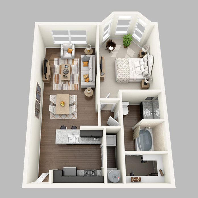 1 2 Bedroom Apartments In Houston Midtown Grove Floor Plans