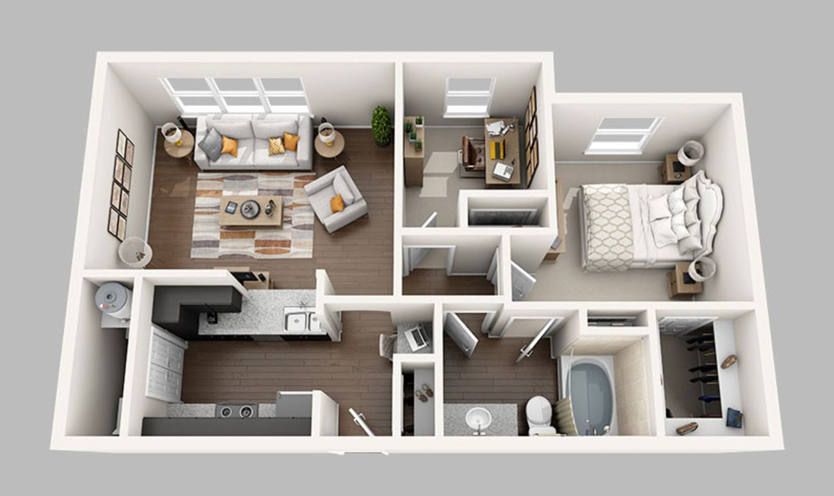 1 & 2 Bedroom Apartments in Houston | Midtown Grove Floor Plans
