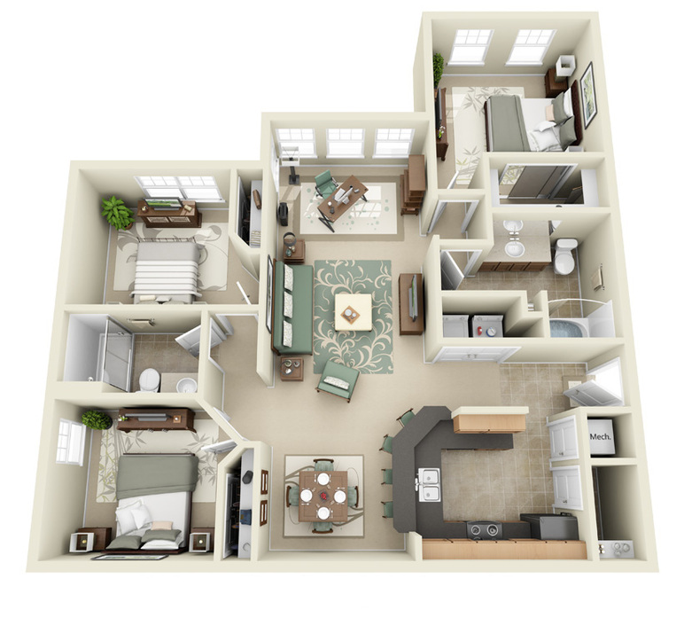 Timber Run Apartments: 3 Bedroom Apartments In Lakeland FL