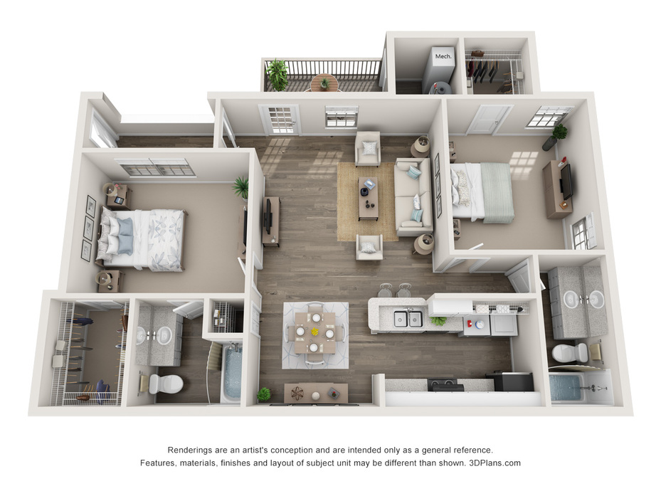 2 & 3 Bedroom Apartments Central, SC | The Whitley Floor Plans