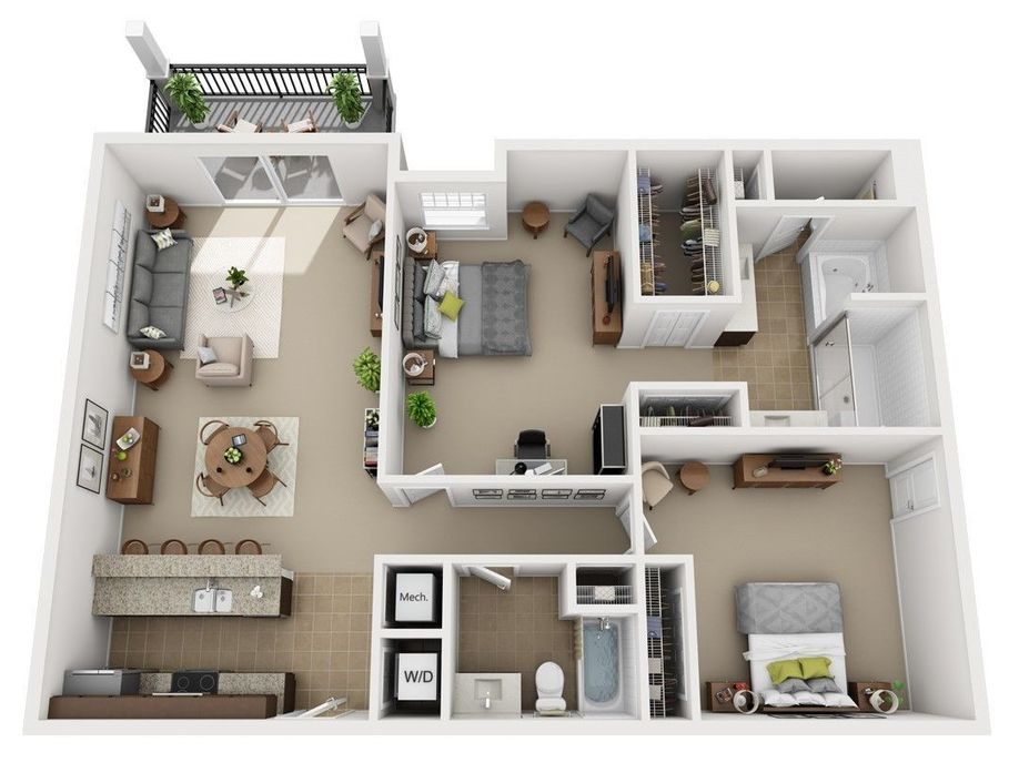 One Three Bedroom Apartments Orlando Urbana Luxury Floor Plans