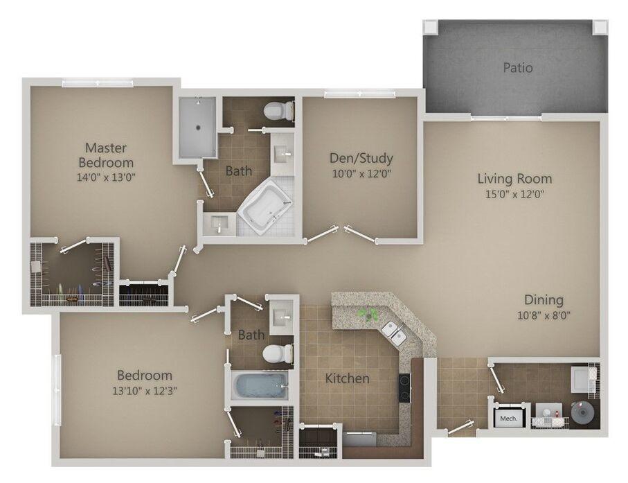 1-3 Bedroom Apartments Orlando | Urbana Luxury Floor Plans