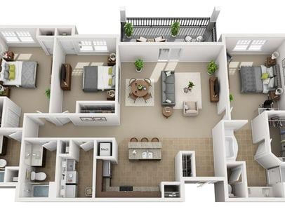 1 3 Bedroom Apartments Urbana Luxury Floor Plans