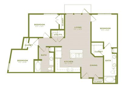 1 3 Bedroom Apartments Austin West Koenig Flats Floor Plans