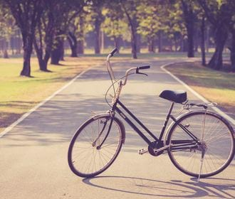 Calexico Family Apartments - stock photo of a bike outside parked on a tree lined winding road