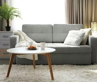 Volta Senior Apartments - stock photo of a living room with a couch, coffee table, and end table
