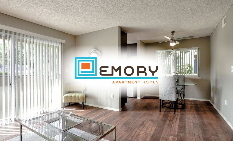 Image of model apartment living room with overlay graphic image of community logo.