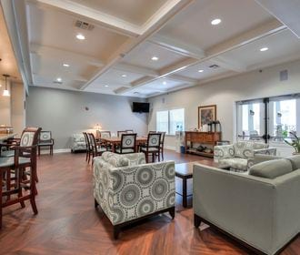 Clubhouse with multiple seating areas.