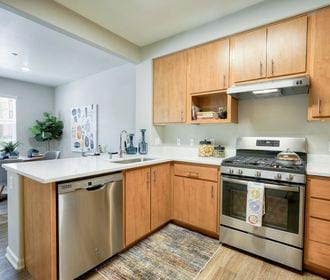 Kitchen with wood style cabinets, stainless steel appliances, and white quartz counter tops.