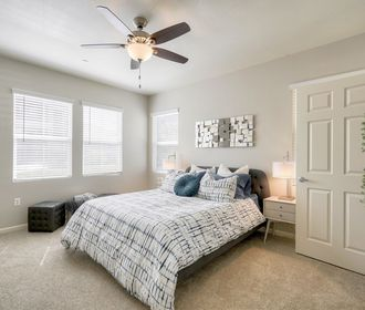 Spacious bedroom with ceiling fan and plush beige carpet.