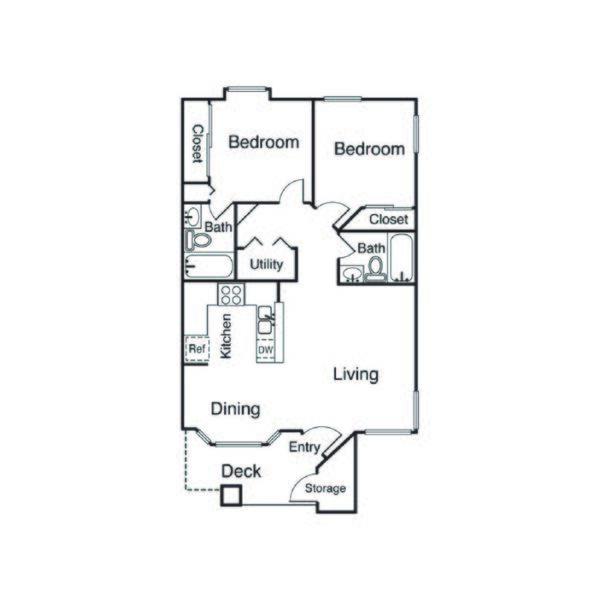 22A Floor Plan 2 Bed 2 Bath 854 Square Feet