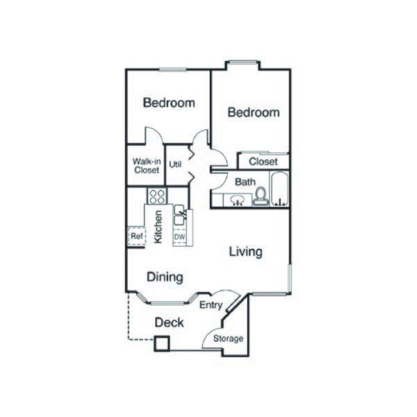 21A Floor Plan 2 Bed 1 Bath 750 Square Feet