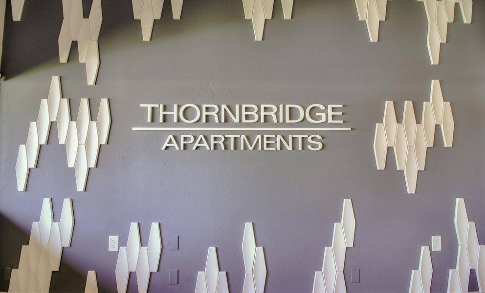 Image of the Thornbridge monument sign in the leasing office.