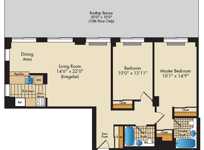 2Bedroom 1060sf