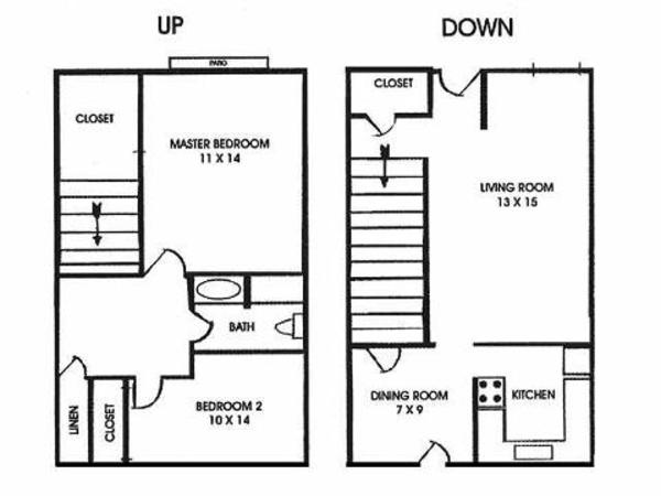 2 Bed 1 Bath Townhome (2A)