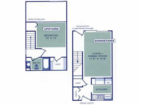 One Bedroom, One Bath Loft Townhome (1A2)