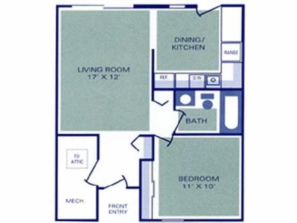 One Bedroom, One Bathroom Townhome Ranch (1A1, 2A)