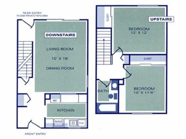 Two Bedroom, One Bath Townhome (1B, 2B)