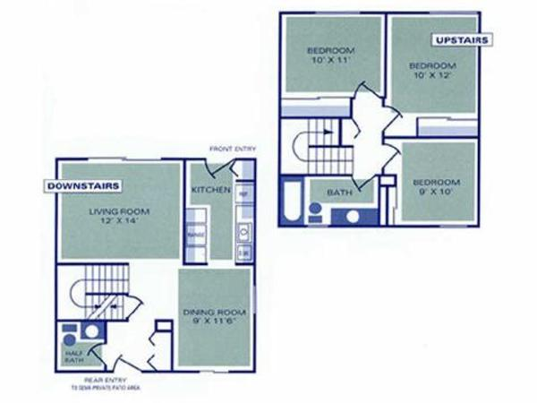 Three Bedroom, One and a Half Bath Townhome (1D, 2D)