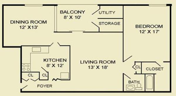 One Bedroom 1F