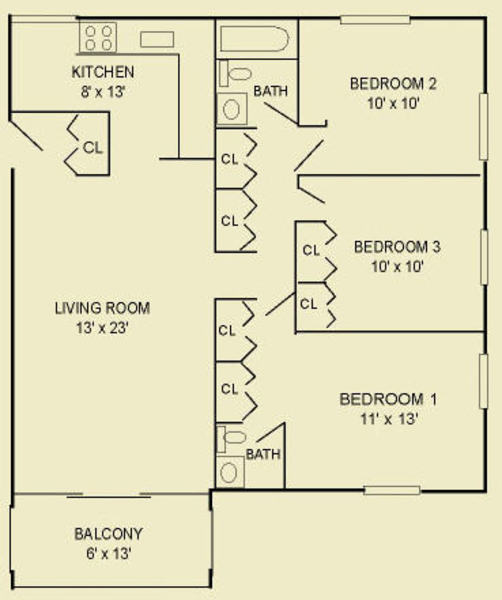 Three Bedroom 3A