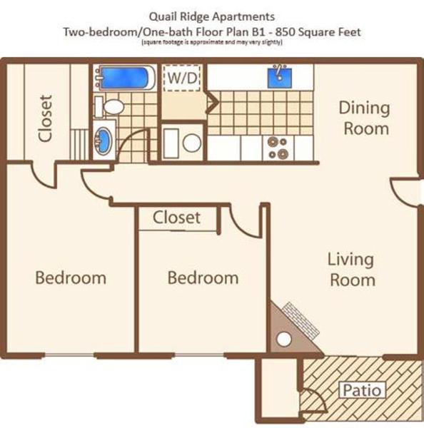 B - Two Bedroom, One Bath