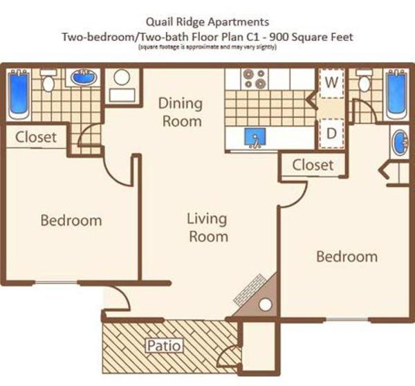 C - Two Bedroom, Two Bath