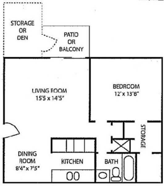 1 Bed 1 Bath w/ Den