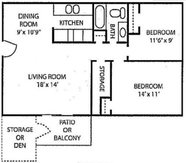 2 Bed 1 Bath w/ Den