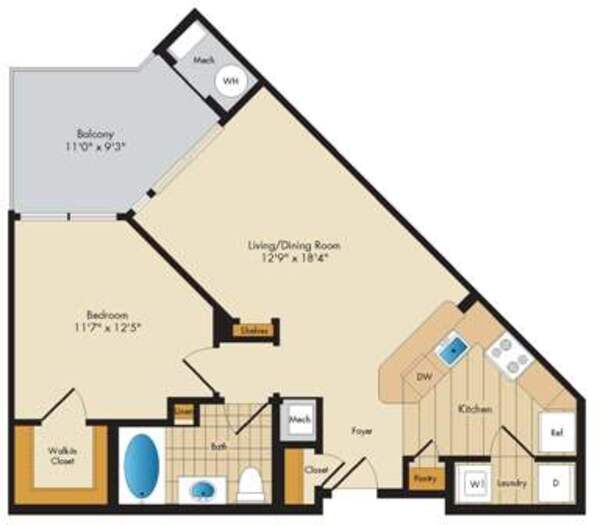 Essex - 1 Bed/1 Bath - 676 sq ft