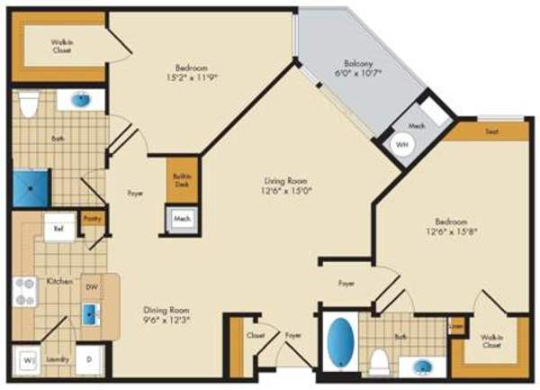 Warwick - 2 bed/2 bath - 1157 sq ft