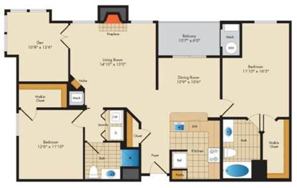 Seton - 2 Bed/2 Bath w/ Den - 1282 sq ft