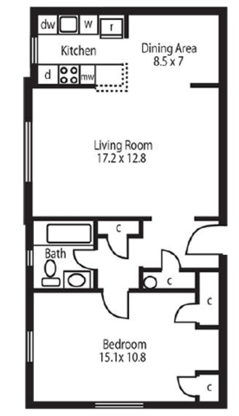 1 Bed 1 Bath (GE)