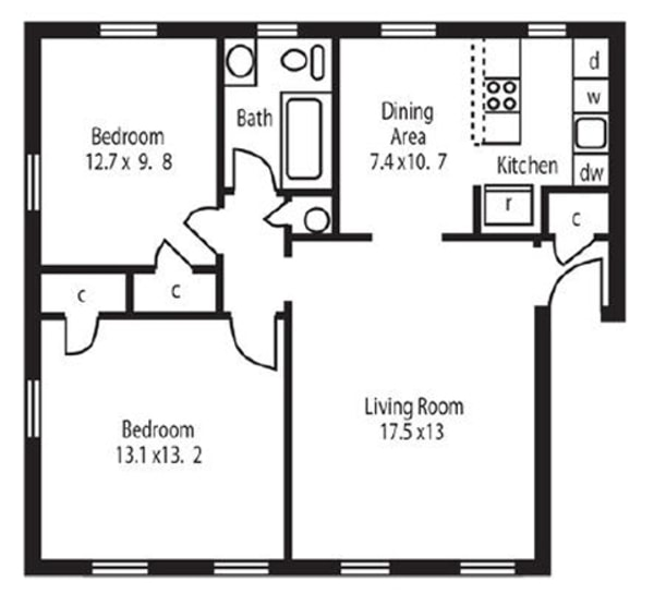 2 Bed 1 Bath (KB)