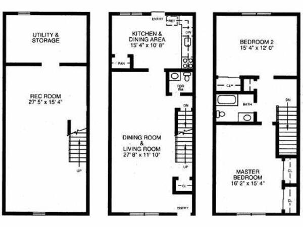 2 Bed 2 Bath( Townhome)
