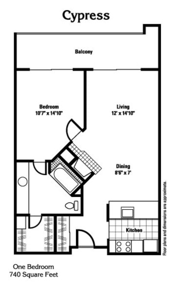 Cypress - 740 sq ft