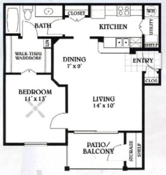 1 bedroom - 1 bathroom - 700 sq ft