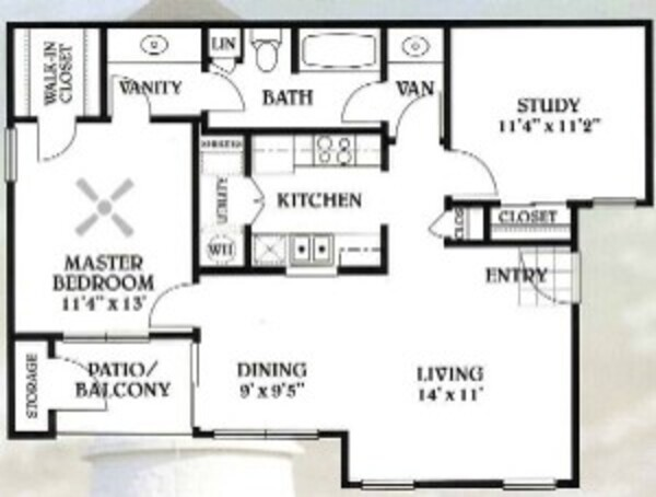 2 bedroom - 1 bathroom - 895 sq ft