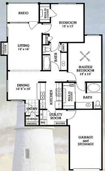 2 bedroom - 2 bathroom - 1112 sq ft