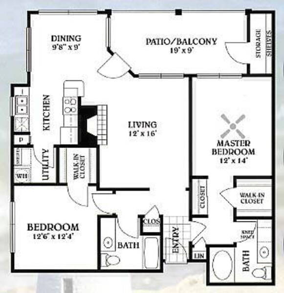 2 bedroom - 2 bathroom - 1174 sq ft