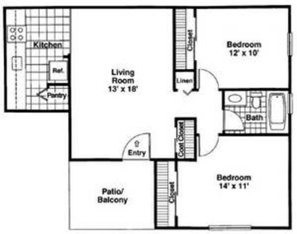 The Elmhurst/The Forrester:2 Bed 1 Bath