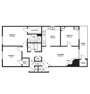 One Two Three Bedroom Floor Plans In Palatine From Bourbon Square