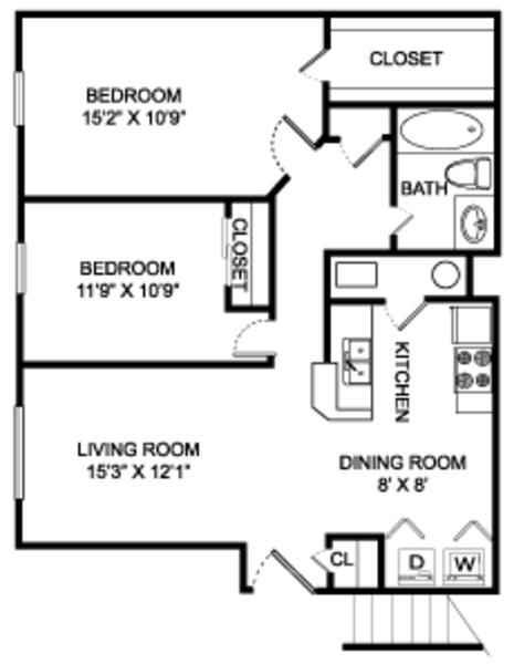 2 bedroom - 1 bathroom - 850 sq ft