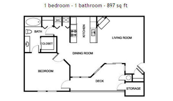 1 bedroom - 1 bathroom - 897 sq ft