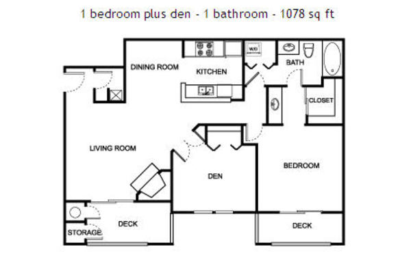 1 bedroom - 1 bathroom - den - 1078 sq ft